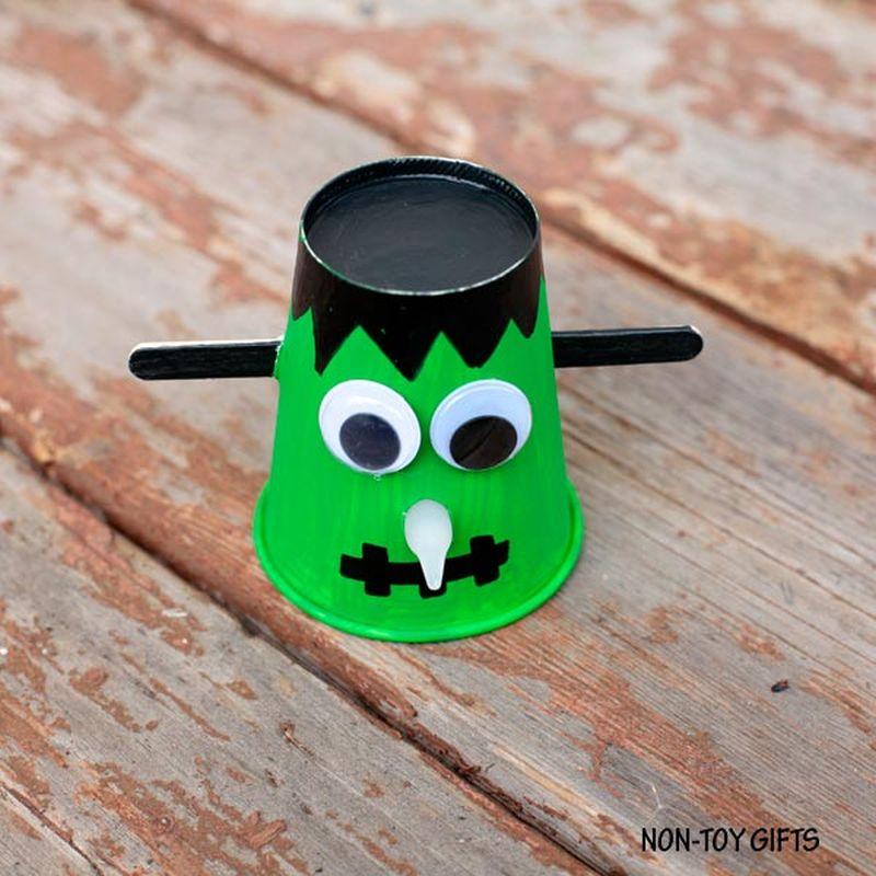 Paper cup Frankenstein Halloween craft for kids