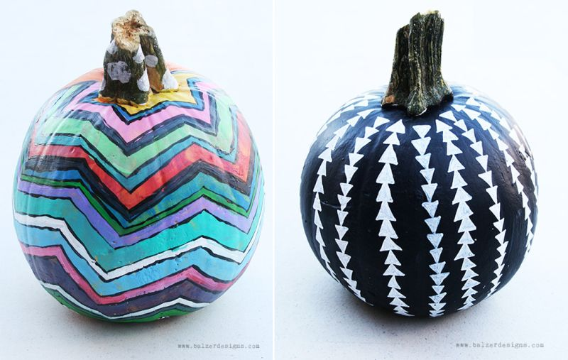 Patterned painted pumpkin
