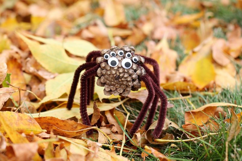 Pinecone spiders for Halloween
