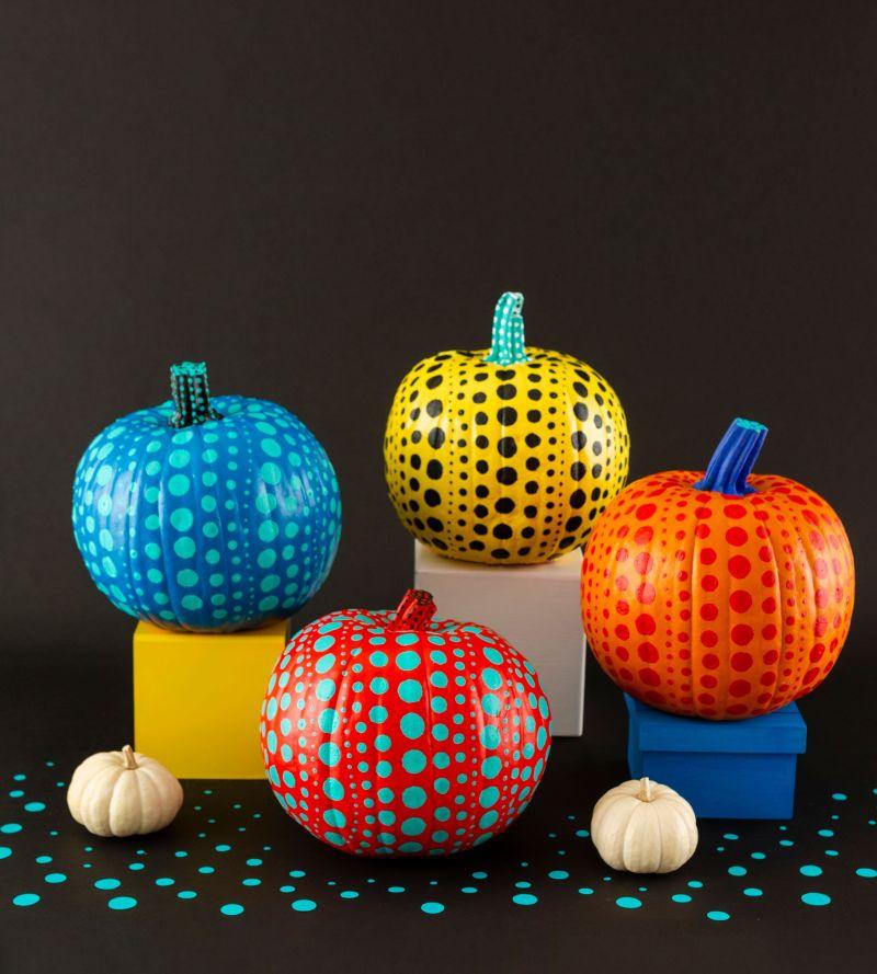 Polka Dot painted pumpkins