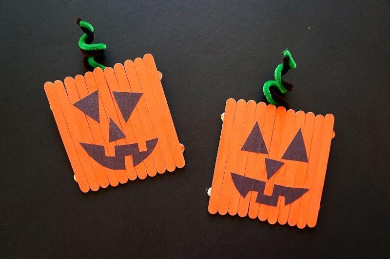 Popsicle stick pumpkins