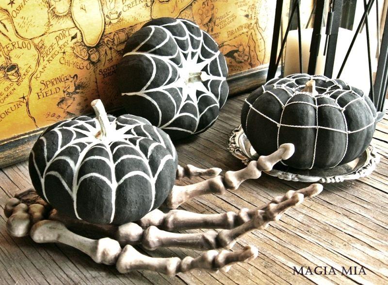 Spider web painted pumpkin