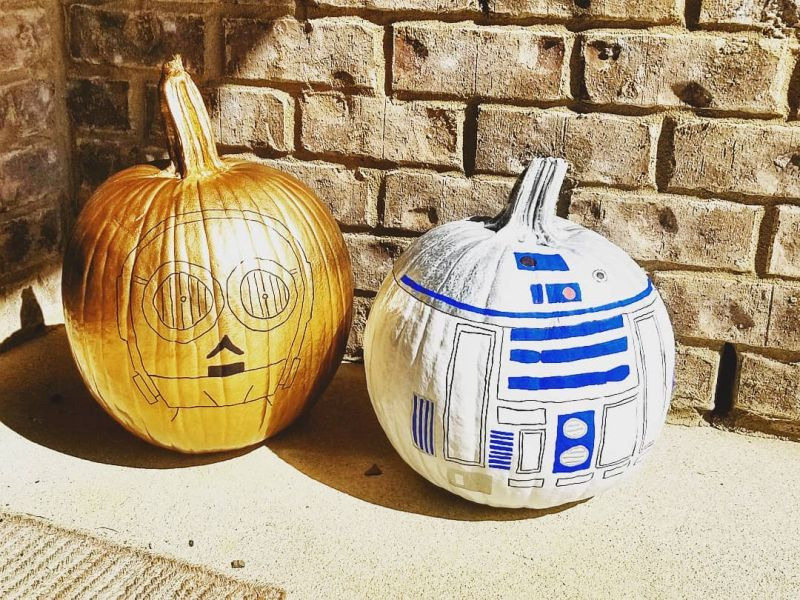 Star Wars themed painted pumpkins