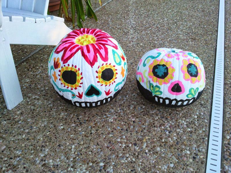 Sugar skull painted pumpkin
