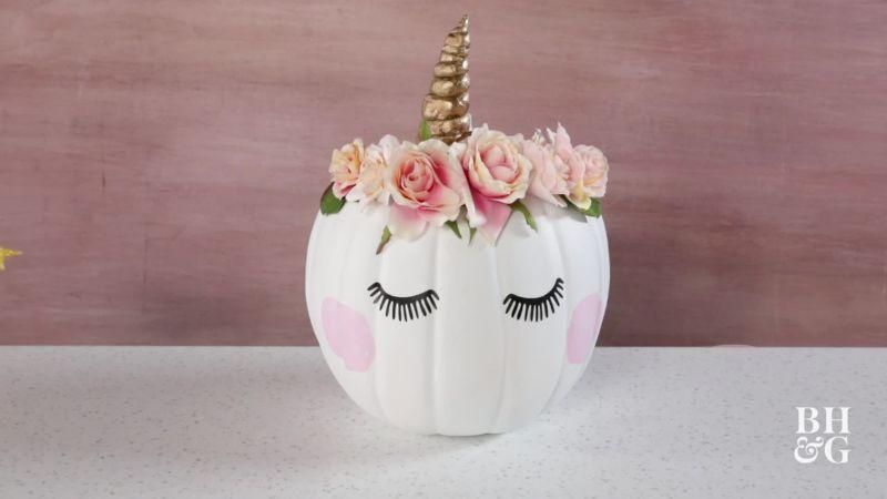 Unicorn pumpkin painting
