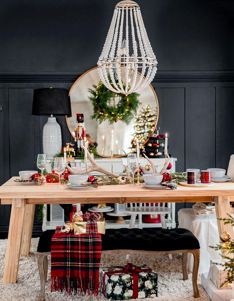 Antler Christmas table setting