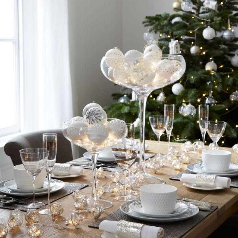 Bauble display on Christmas table