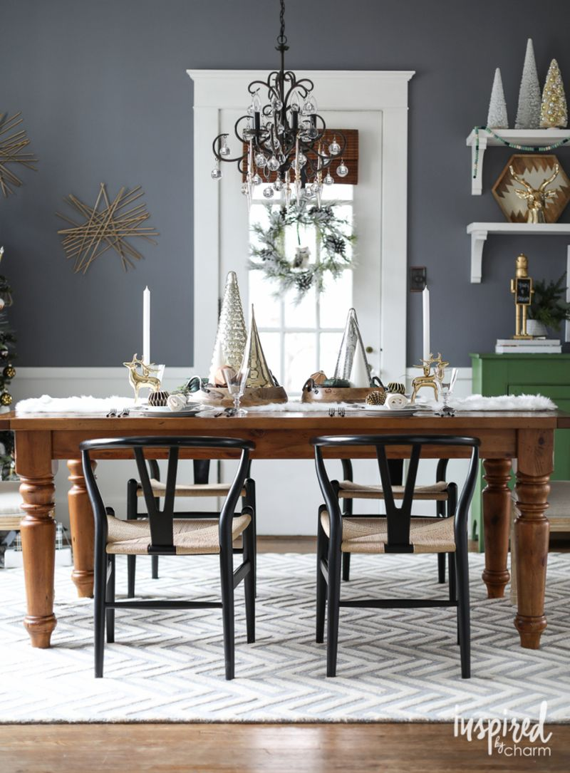 Christmas dining table decor with mettalic accents