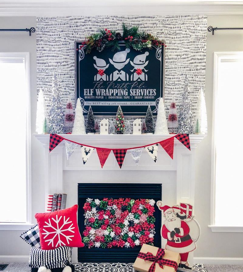 Fuss-Free Fireplace Mantel Decoration Ideas for Christmas
