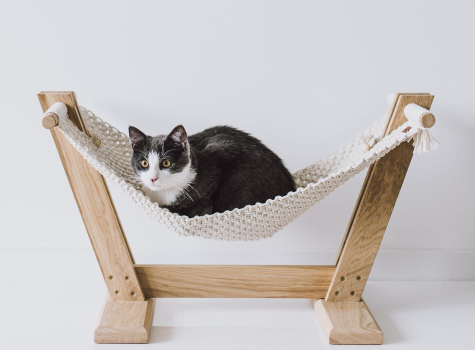 Handmade Eco-Friendly Macramé Cat Hammock Suitable for All Small Pets