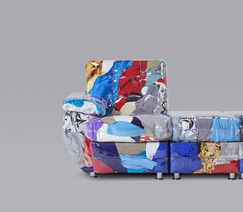 Harry Nuriev Creates The Balenciaga Sofa Out of Unused Clothes from the Brand
