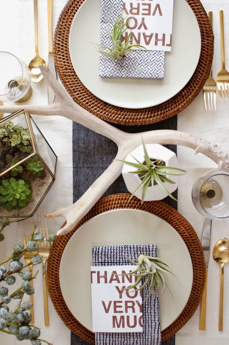 Modern organic Thanksgiving table décor