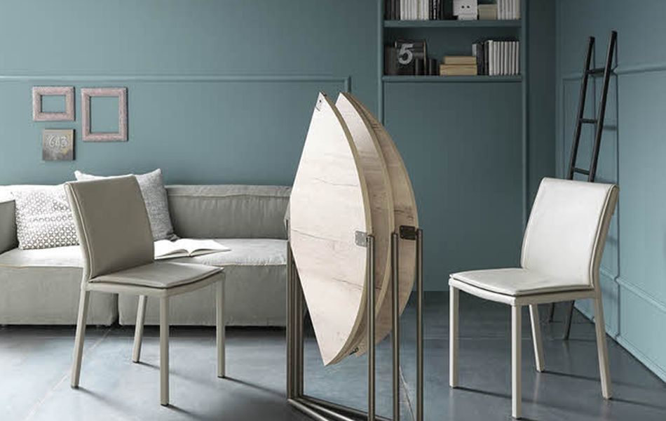 Unprecedented Icaro Tri-Fold Dining Table Folds Completely Flat