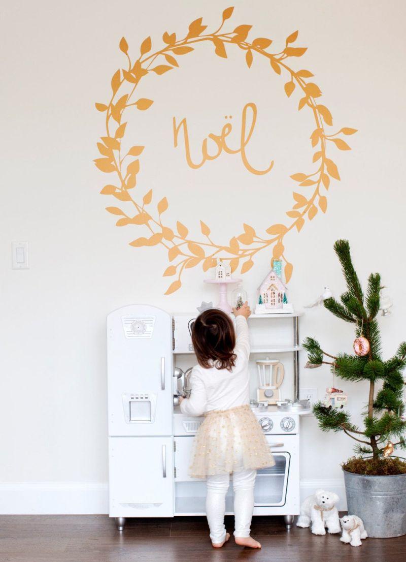 Christmas wreath wall decal with Noel wording