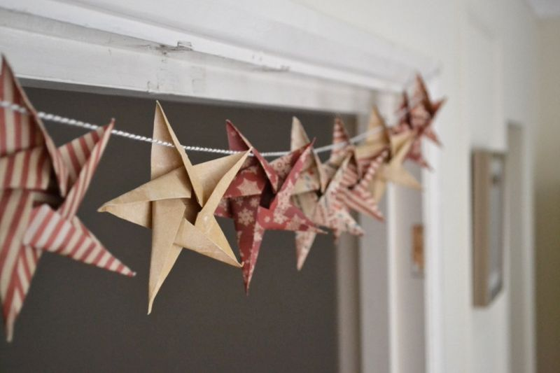 DIY Paper Star Christmas garland