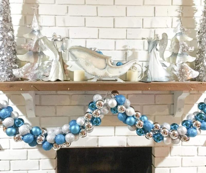 DIY garland from Christmas ornaments