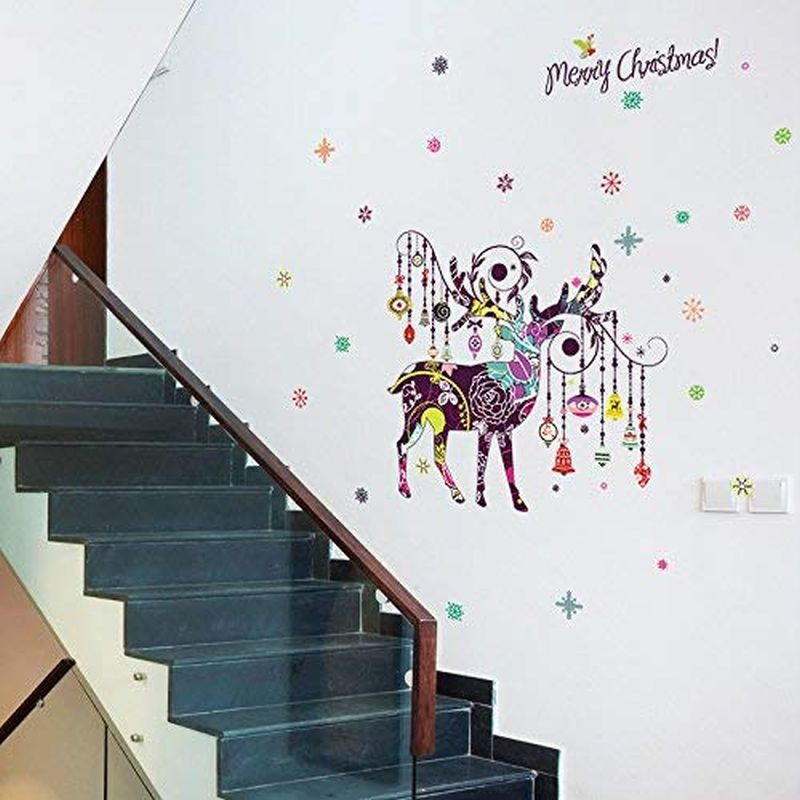 Elk-themed Christmas wall decals