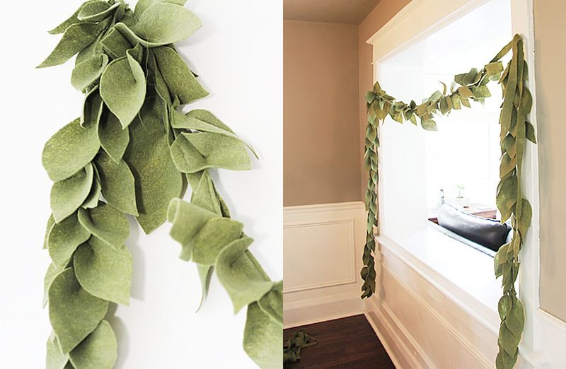 Felt leaf DIY christmas-garland