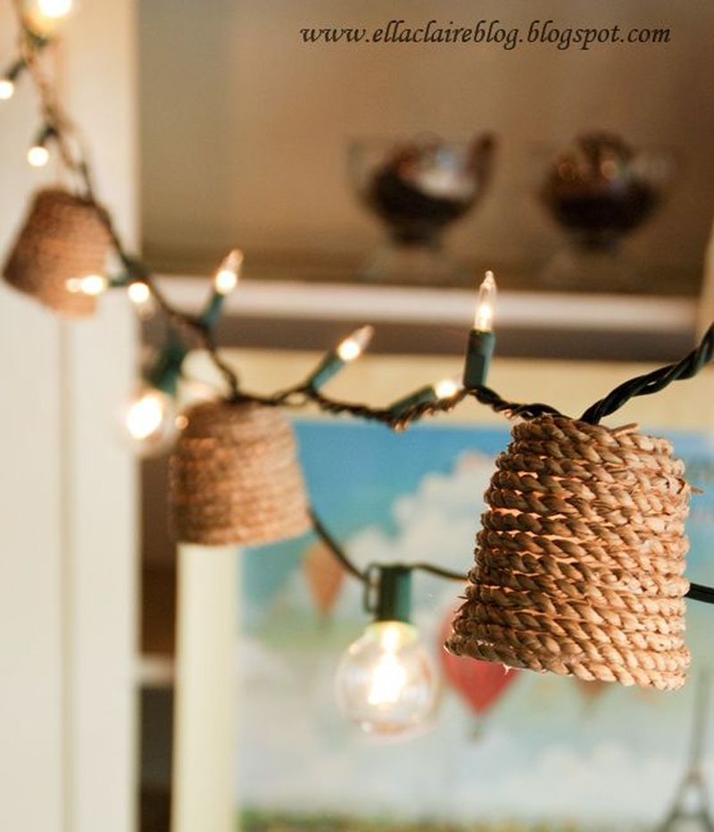 Jute lined paper cup DIY Christmas garland