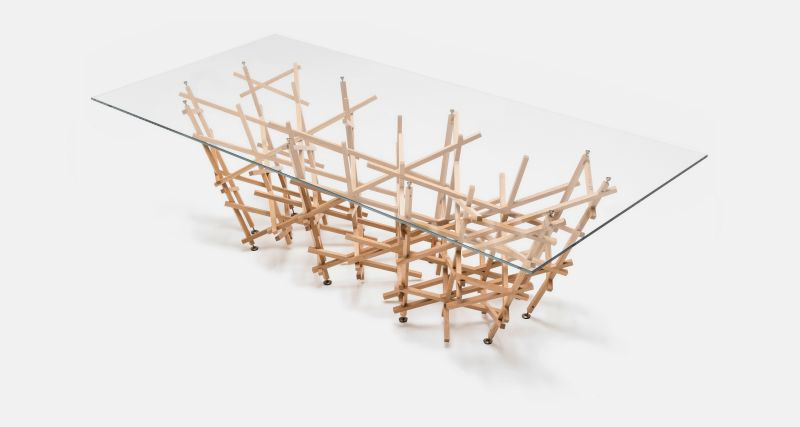 Kigumi Table is Made of Communion of Multiple Thin Wooden Slats