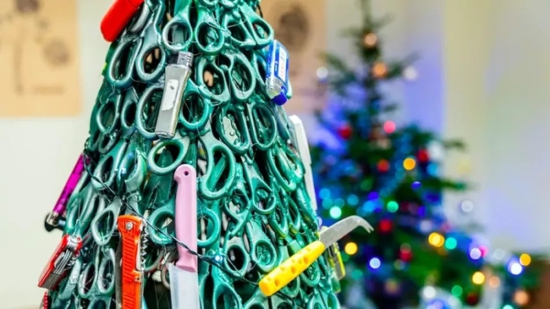 Lithuanian Airport Built Christmas Tree out of Confiscated Items from Passengers