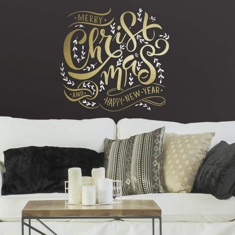 Merry Christmas quote wall decal with metallic ink