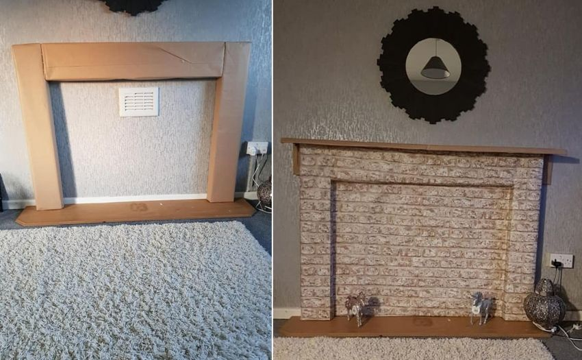 Mom Builds Temporary Fireplace Using Cardboard and Glue
