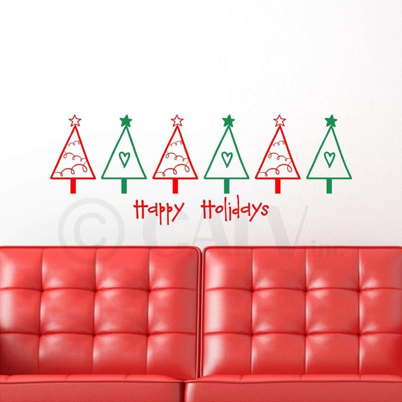 multi color Christmas tree wall decals