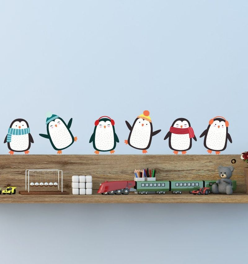 Penguin Christmas wall decals