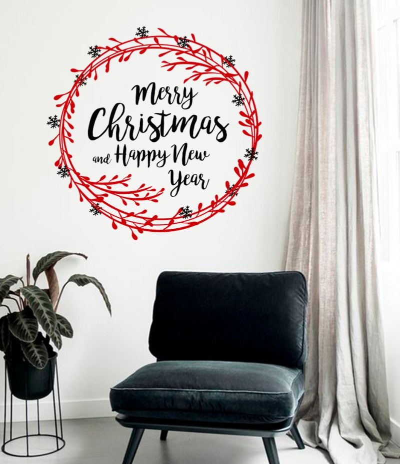 Red wreath Christmas wall decal