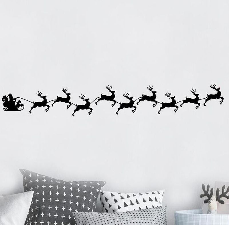 Santa's Sleigh with running reindeers Christmas wall decals