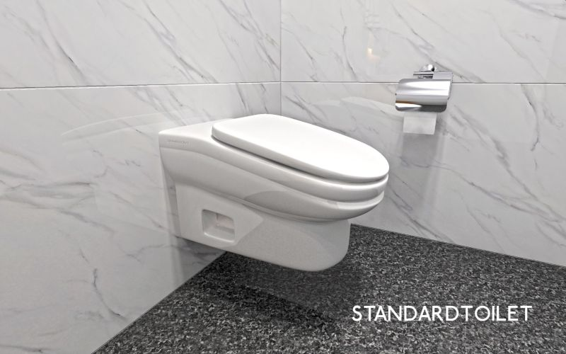 Sloped Surface of StandardToilet to Minimize Bathroom Breaks and Increase Productivity