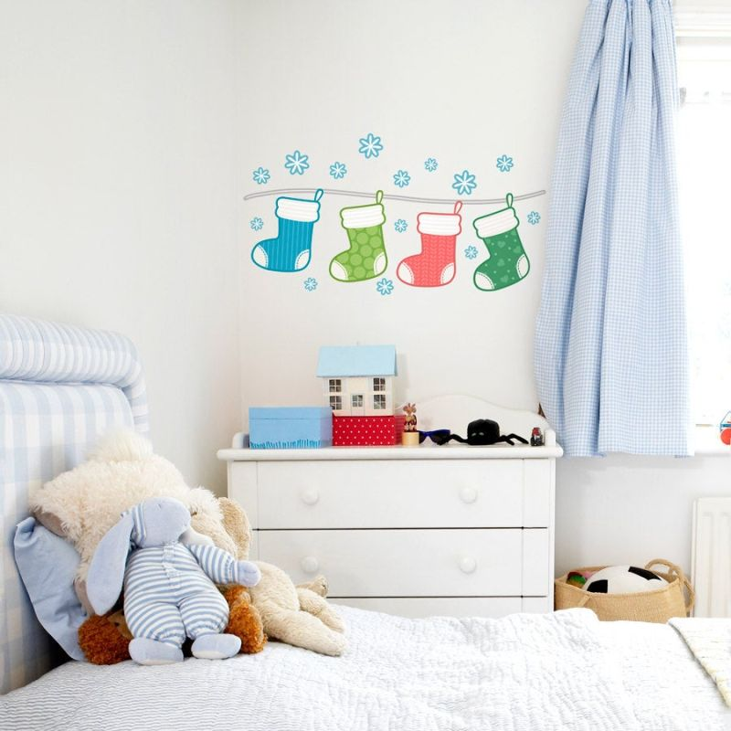 colorful stockings Christmas wall decals