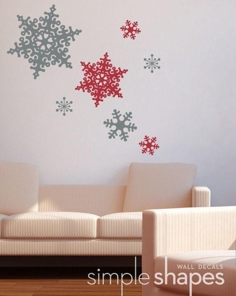 large snowflake Christmas wall decals