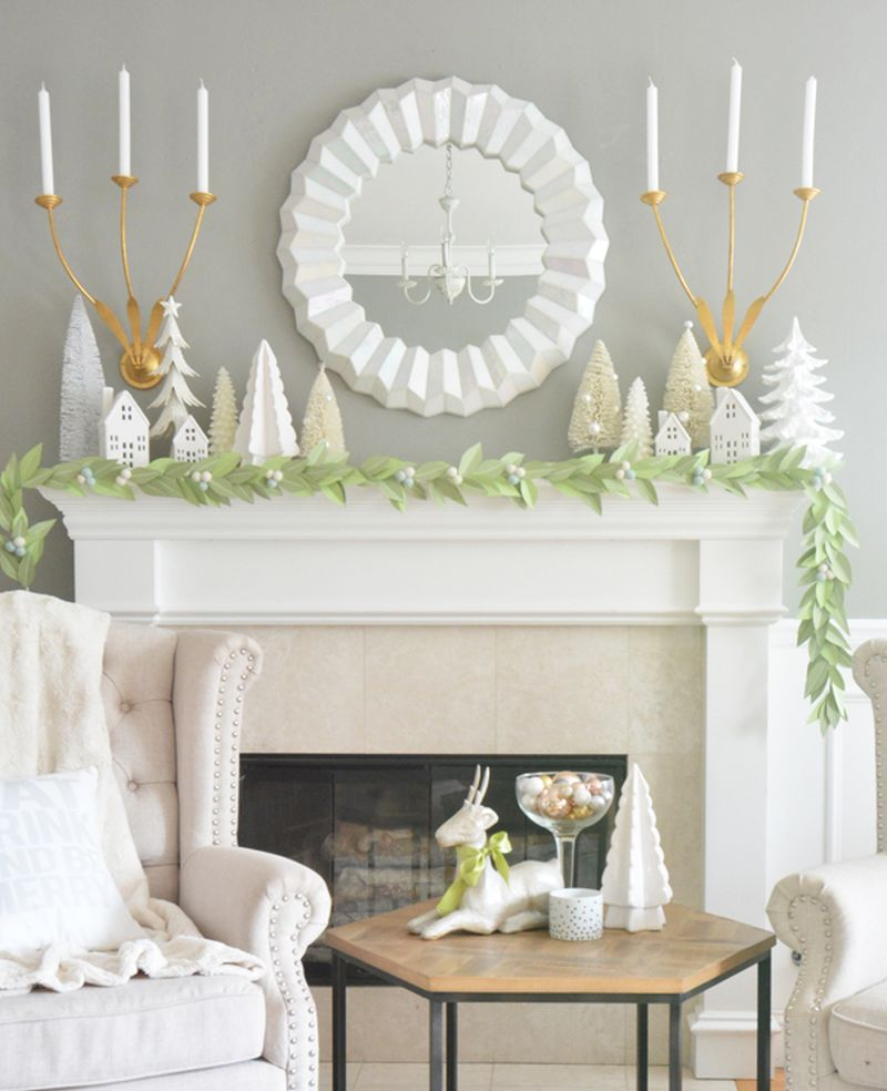 paper leaf DIY Christmas garland for mantel