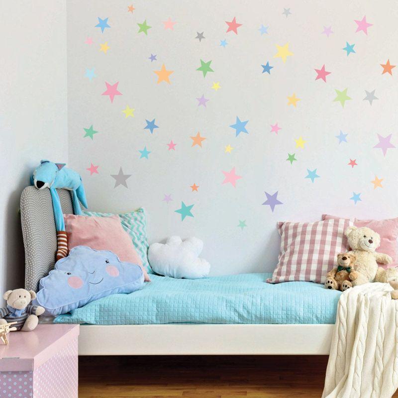 pastel rainbow stars Christmas wall decals