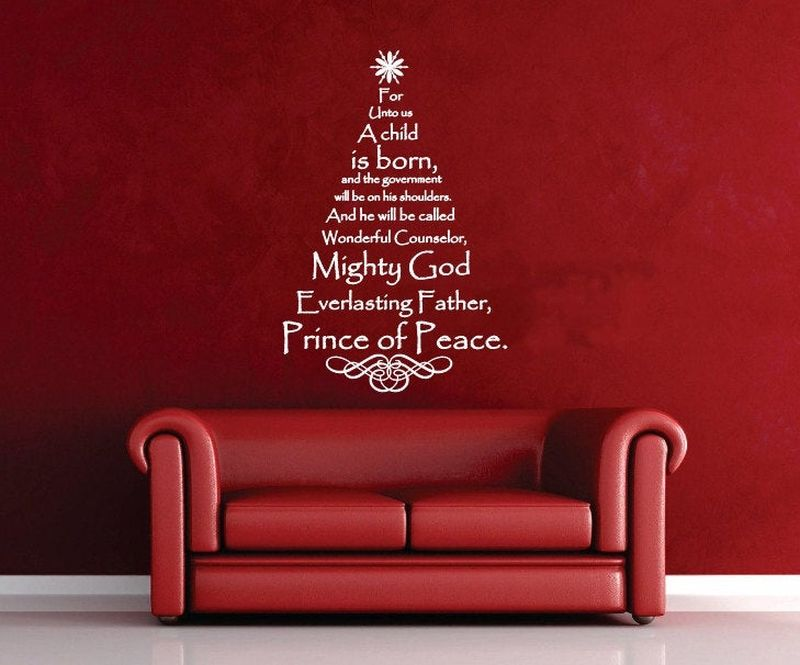 scripture Christmas tree wall decal
