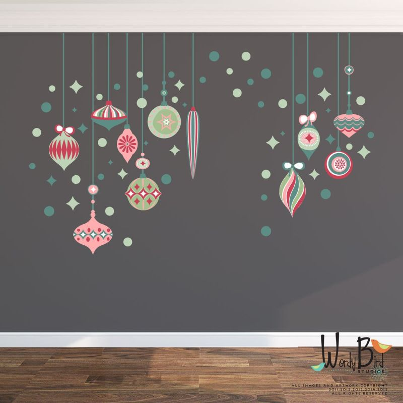 vintage style, Christmas ornaments wall decals