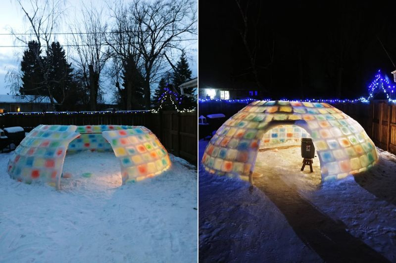 Edmonton Dad Builds Life-Sized Ice Igloo in His Backyard