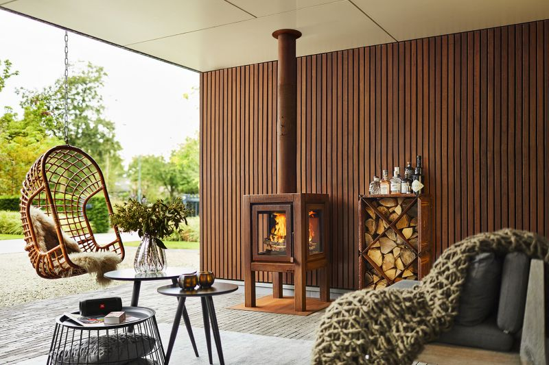 rb73 Makes CorTen Steel Outdoor Fireplaces with Glass Panels