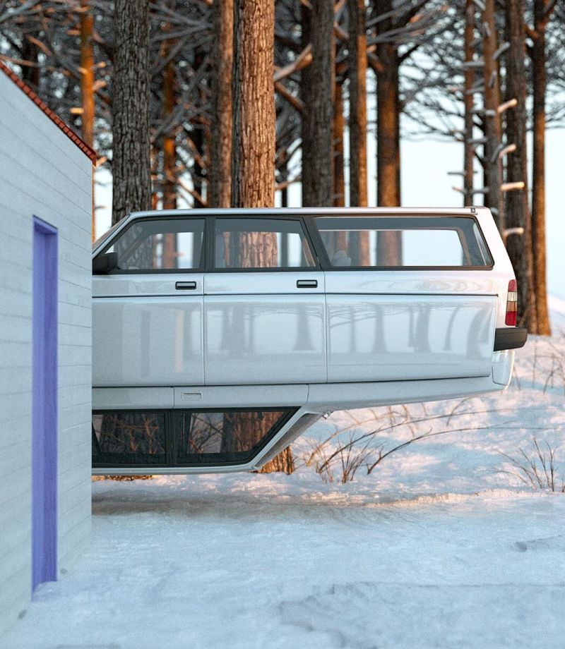 Chris Labrooy's Latest Artwork Combines Winter Cabin with Volvo 240