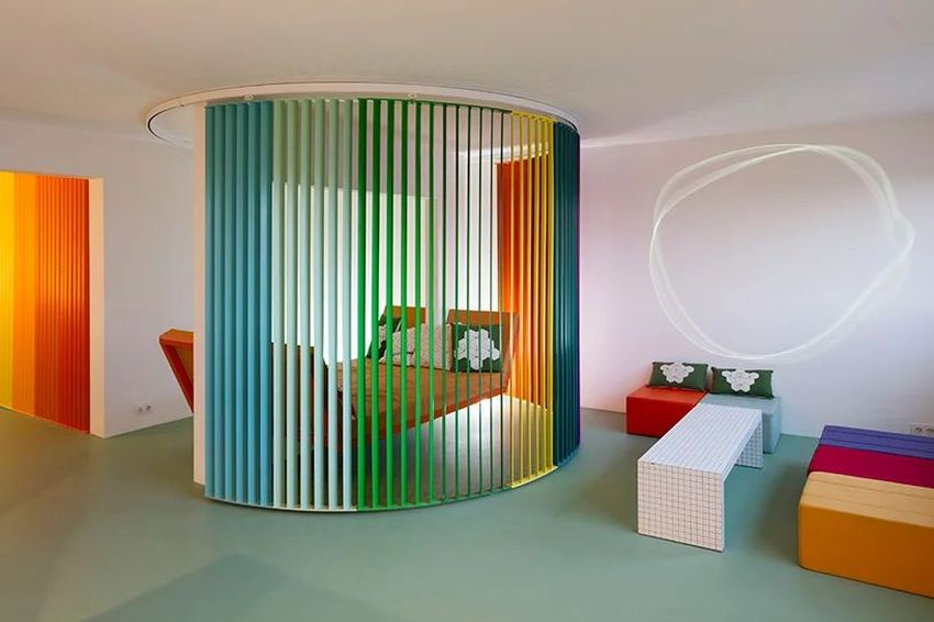 French industrial designer Matali Crasset has renovated an 80-sqm apartment situated on the 9th floor of a Parisian building