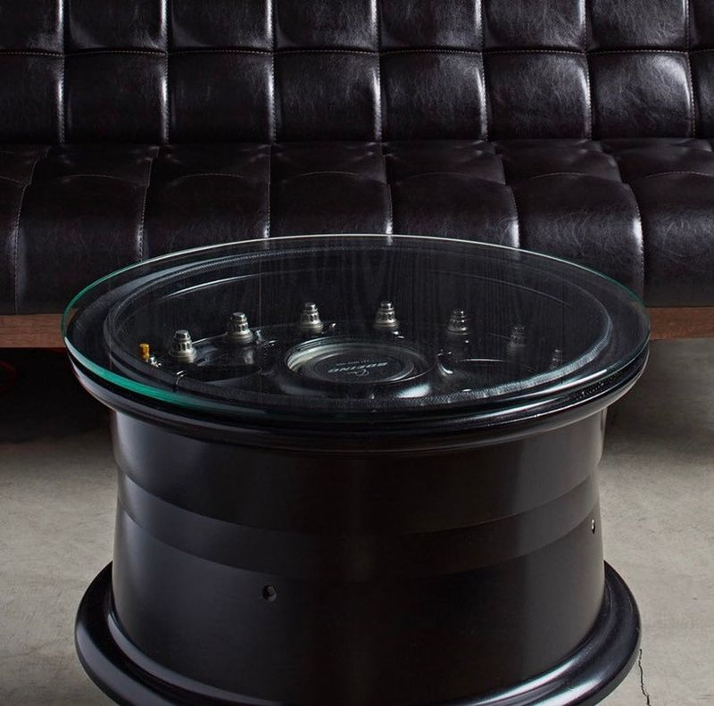 This Coffee Table is Made of a Boeing 737 Main Wheel